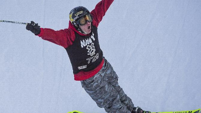 Alex Ferreira celebrates after a run that temporarily put him in first place on the last run of the Men's Ski Superpipe finals during the final day of the X Games Sunday, Jan.25, 2015, at Buttermilk Mountain in Aspen, Colo. Ferreira ended the day in third with a score of 91.66