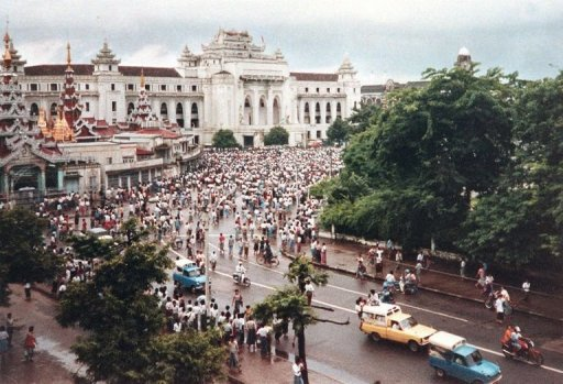 &lt;p&gt;Demonstrators gather in central Rangoon in 1988 to protest against the government. At least 20 student leaders were arrested in Myanmar Saturday on the eve of a rally to commemorate the crackdown on a student movement in 1988, an activist said, in the biggest wave of arrests since the dissolution of the junta.&lt;/p&gt;