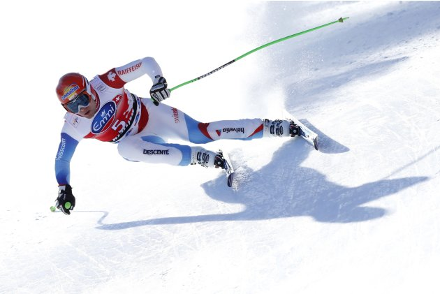 Kueng of Switzerland competes during the Alpine Skiing World Cup men's downhill competition in Kvitfjell