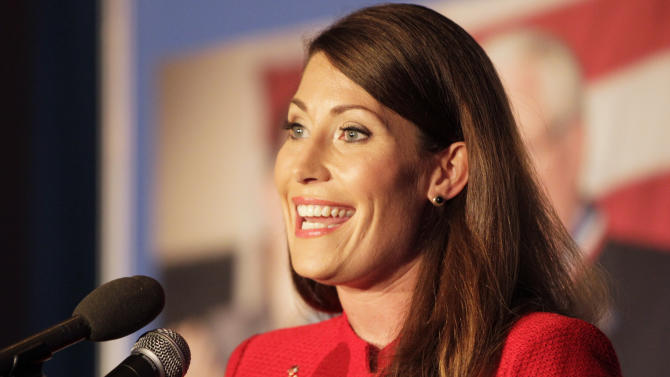U.S. Senate candidate Alison Lundergan Grimes gave her victory speech at her primary election night celebration at the Carrick House in Lexington, Ky., on Tuesday, May 20, 2014. (AP Photo/The Lexington Herald-Leader, Pablo Alcala)