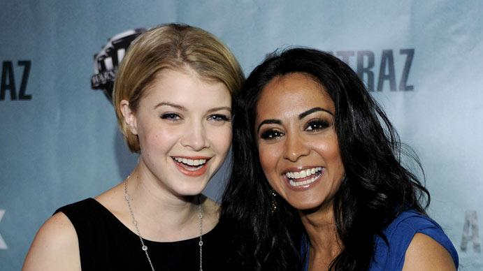 "Sarah Jones and Parminder Nagra attend the premiere party for Fox's ""Alcatraz"" on January 11, 2012 in San Francisco, California."