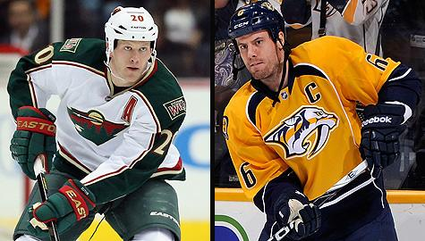Minnesota Wild's Ryan Suter and Nashville Predators' Shea Weber