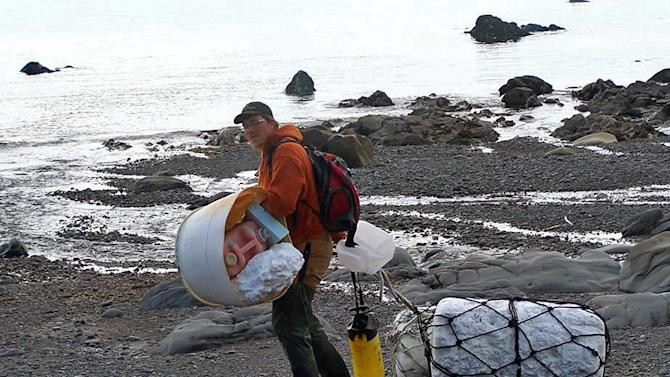 In this June 6, 2012 photo provided by Ryan Pallister, Patrick Chandler removes tsunami debris on Montague Island near Seward, Alaska. More than a year after a tsunami devastated Japan, killing thousands of people and washing millions of tons of debris into the Pacific Ocean, neither the U.S. government nor some West Coast states have a clear plan for how to clean up the rubble that floats to American shores. (AP Photo/Gulf of Alaska Keeper, Ryan Pallister)