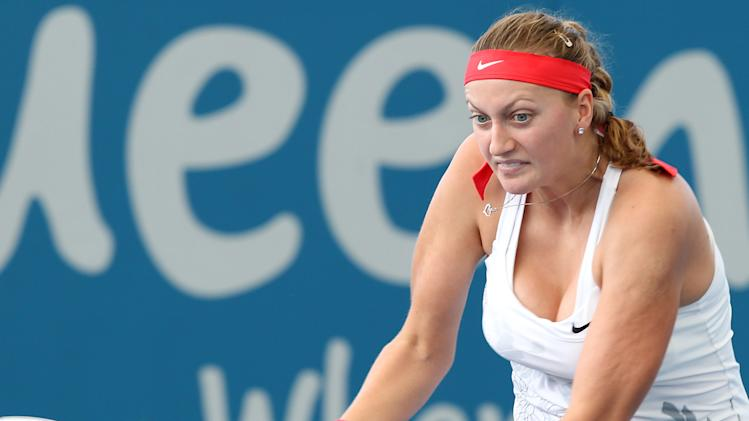 Petra Kvitova of the Czech Republic plays a shot during her 2nd round match against Anastasia Pavlyuchenkova of Russia at the Brisbane International tennis tournament in Brisbane, Australia, Tuesday, Jan. 1, 2013. (AP Photo/Tertius Pickard)