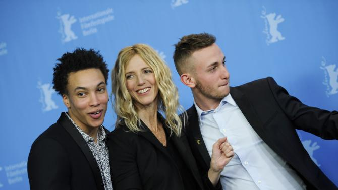 Actors Fila, Kiberlain and Klein pose during a photocall to promote the movie Quand on a 17 ans (Being 17) at the Berlinale International Film Festival in Berlin