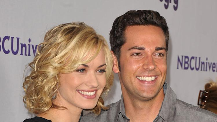 "Yvonne Strahovski and Zachary Levi of ""Chuck"" attend the NBC Universal Summer TCA 2011 All-Star Party at the SLS Hotel on August 1, 2011 in Los Angeles, California."