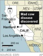 Map locates Hanford, California, where mad cow disease has been discovered