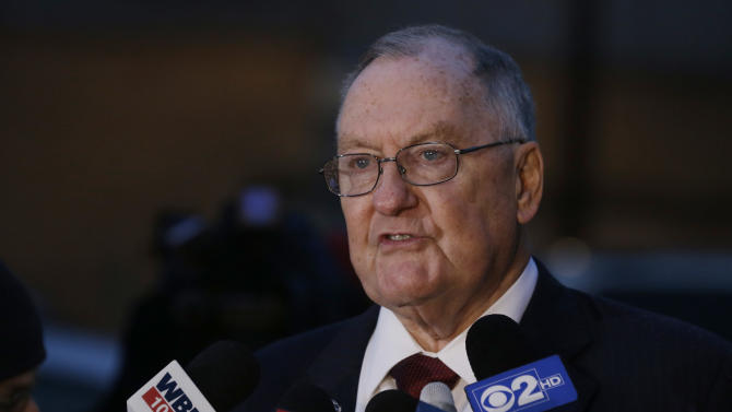 Former Illinois Gov. Jim Thompson, attorney for former Illinois Gov. George Ryan, speaks to the media after accompanying Ryan to a halfway house Wednesday, Jan. 30, 2013, in Chicago, after Ryan served more than five years in federal prison on corruption charges. The 78-year-old Ryan began serving his 6 1/2-year sentence in November 2007 in Oxford, Wis., and was released  from another in Terra Haute, Ind. to enter the halfway house under a work-release program. (AP Photo/M. Spencer Green)