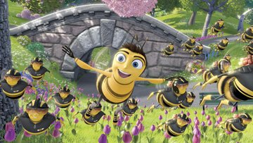 Barry B. Benson (voiced by Jerry Seinfeld ) and the Pollen Jocks in DreamWorks Pictures' Bee Movie