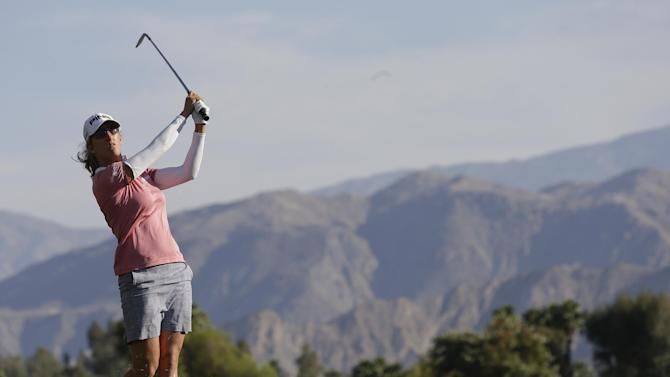 Giulla Sergas, of Italy, hits from the rough on the seventh hole during the second round of the LPGA Kraft Nabisco Championship golf tournament in Rancho Mirage, Calif. Friday, April 5, 2013. (AP Photo/Chris Carlson)