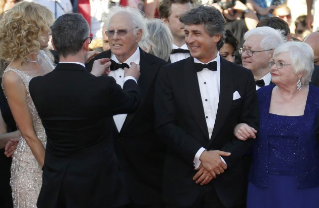 "Director Alexander Payne and cast members arrive for the screening of the film ""Nebraska"" in competition during the 66th Cannes Film Festival"