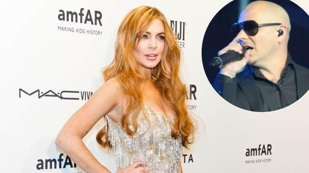 Lindsay Lohan / Pitbull -- Getty Premium