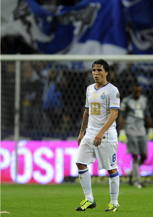 FC Porto's Josue Pesqueira reacts after their victory over Vitoria Guimaraes in a Portuguese League soccer match at the Dragao Stadium in Porto, Portugal, Friday, Sept. 27, 2013. Josue scored the only