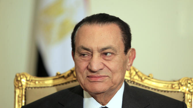 FILE - In this Tuesday, Feb. 8, 2011 file photo, Egyptian President Hosni Mubarak attends a meeting with Emirates foreign minister, not pictured, at the Presidential palace in Cairo, Egypt. Guilty or not, Saturday's verdict in the Hosni Mubarak trial may only add to Egypt's polarization. The country is bracing for a heated runoff for president pitting the ousted leader's protege and last prime minister against an Islamist from a group that the old regime repeatedly cracked down.(AP Photo/Amr Nabil, File)