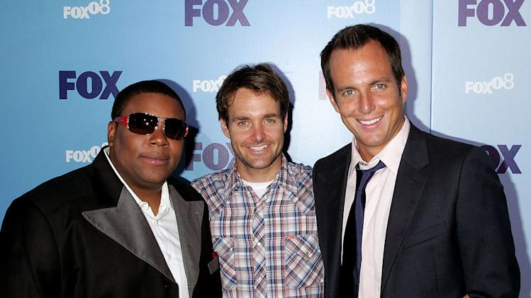 Kenan Thompson, Will Forte and Will Arnett arrives at the 2008 FOX UpFront at Wollman Rink, Central Park on May 15, 2008 in New York City.