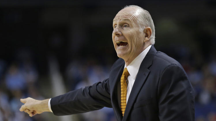 Miami head coach Jim Larranaga directs his team against North Carolina State during the first half of an NCAA college basketball game in the semifinals of the Atlantic Coast Conference tournament in Greensboro, N.C., Saturday, March 16, 2013. (AP Photo/Gerry Broome)