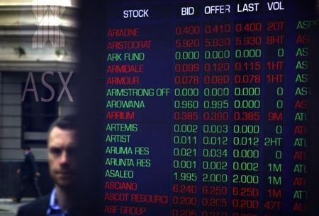 Pedestrians are reflected in the window of the Australian Securities Exchange next to a board displaying stock prices in central Sydney