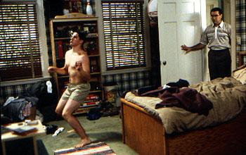 Jim ( Jason Biggs ) dances towards manhood without knowing that his Dad ( Eugene Levy ) is looking on in Universal's American Pie