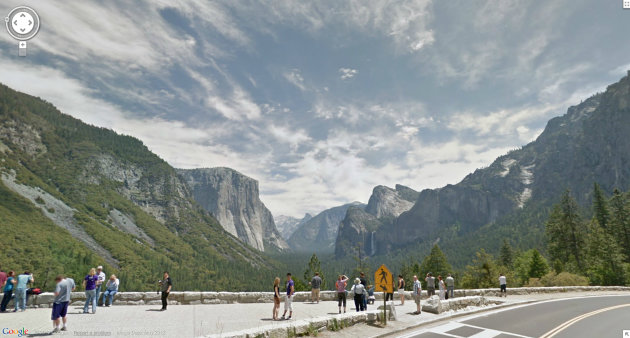 In this undated Street View image provided by Google is Inspiration Point at Yosemite National Park in California. The Google Street View service that has brought us Earth as we might not be able to afford to see it, as well criticism that some scenes along its 5 million miles of the globes roadways invade privacy, this month has turned its 360-degree cameras on road trips through five national parks in California. (AP Photo/Google)