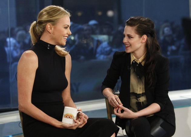 Charlize Theron and Kristen Stewart are all smiles on the set of NBC&#39;s the &#39;Today&#39; show in New York City on March 19, 2012 -- Getty Images