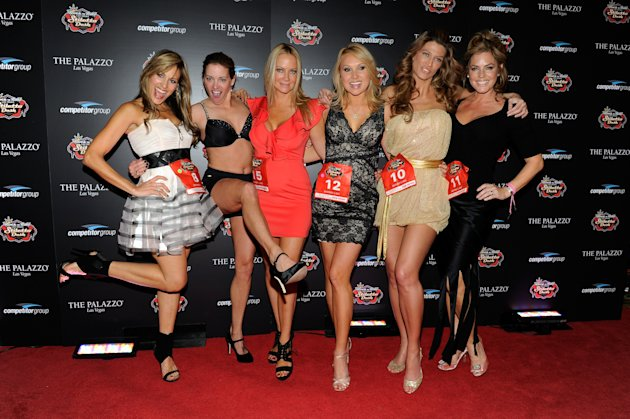 LAS VEGAS, NV - DECEMBER 03: (L-R) Lillian Garcia, Suzy Favor Hamilton, Barbara Moore, Alana Curry, Amber Smith and Sandra Taylor attend the Rock 'n' Roll Las Vegas Stiletto Dash at The Palazzo on Dec