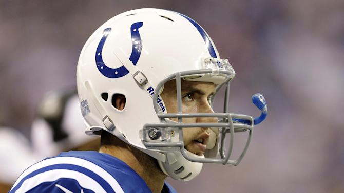 Indianapolis Colts quarterback Andrew Luck (12) looks up during the first half of an NFL football game against the Tennessee Titans, Sunday, Dec. 9, 2012, in Indianapolis. (AP Photo/Jeff Roberson)