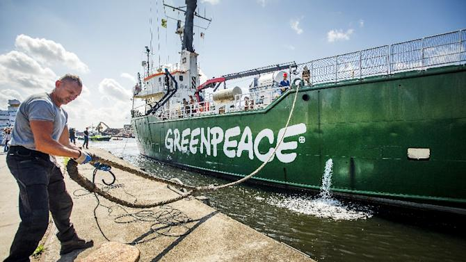 "Greenpeace's ice breaker ""Arctic Sunrise"" docks in the harbour of Beverwijk on August 9, 2014, after returning from Murmansk"
