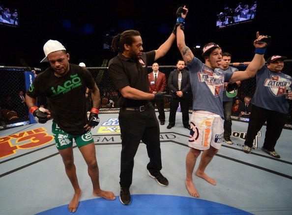 LAS VEGAS, NV - DECEMBER 29: Myles Jury reacts to being declared the winner over Michael Johnson after their lightweight fight at UFC 155 on December 29, 2012 at MGM Grand Garden Arena in Las Vegas, N