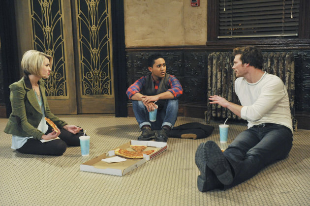 "Chelsea Kane as Riley, Tahj Mowry as Tucker, and Derek Theler as Danny in ""Baby Daddy."""
