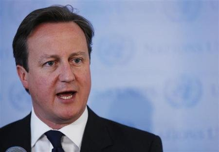 British PM Cameron speaks during a news conference at the U.N. headquarters in New York