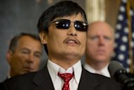 "Chinese human rights activist Chen Guangcheng speaks during a press conference at the US Capitol in Washington, DC, in August 2012. Guangcheng said in a video released Sunday that a three-year jail sentence handed to his nephew was ""revenge"" for his dramatic escape to the US embassy earlier this year"