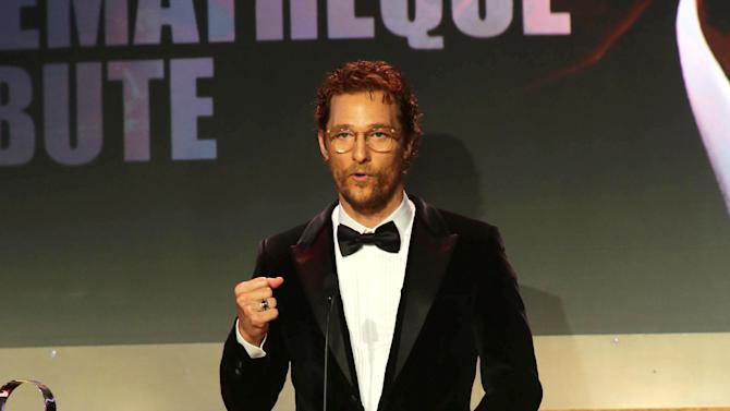 Honoree Matthew McConaughey accepts the American Cinematheque Award onstage the 28th Annual American Cinematheque Awards Honoring Matthew McConaughey held at The Beverly Hilton on Tuesday, Oct 21, 2014, in Beverly Hills. (Photo by Eric Charbonneau/Invision for American Cinematheque/AP Images)