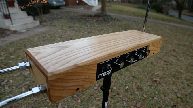 The Moog Etherwave Theremin kit, show completed, is shown on Dec. 17, 2013, in Decatur, Ga. (AP Photo/Ron Harris)