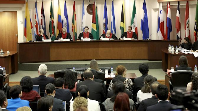 Judges of the Inter-American Commission on Human Rights (IACHR) attend a hearing to monitor the government's compliance with the ruling lifting the country's ban on in-vitro fertilization (IVF), in San Jose