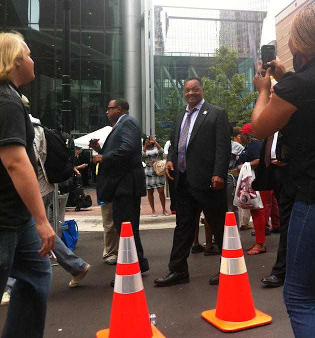 Jesse Jackson enters the Democratic National Convention arena on Thursday Sept. 6, 2012. (Jennie Josephson/Yahoo! News)