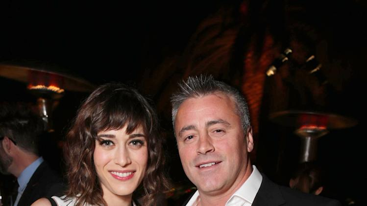 EXCLUSIVE CONTENT - PREMIUM RATES APPLY Lizzy Caplan and Matt LeBlanc seen at Showtime's Holiday Soiree, on Thursday, Dec. 5, 2013 in Los Angeles. (Photo by Eric Charbonneau/Invision for Showtime/AP Images)