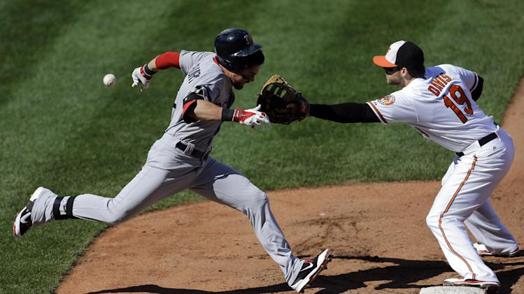 Boston Red Sox' Jacoby Ellsbury, left, runs toward first base as Baltimore Orioles first baseman Chris Davis reaches for a throw in the fourth inning of an MLB American League baseball game, Sunday, Sept. 29, 2013, in Baltimore. Ellsbury advanced to second base on a throwing error by catcher Steve Clevenger, Jarrod Saltalamacchia scored on the play and Davis left the game with an injury. (AP Photo/Patrick Semansky)