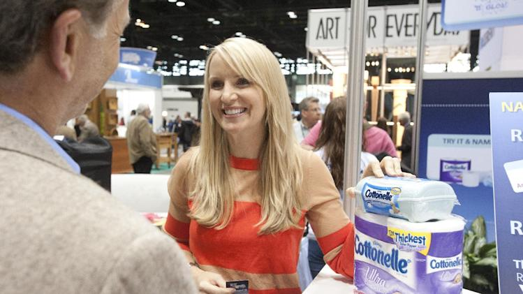 COMMERCIAL IMAGE  In this image provided by AP Images for Cottonelle, Cari Cucksey from HGTV's Cash & Cari talks to people at The Cottonelle Care Lounge at The Kitchen and Bath Industry Show in Chicago, Wednesday, April 25, 2012. Cottonelle debuted the Name It campaign at KBIS and asked people to name the routine of using Cottonelle Ultra Comfort Care Toilet Paper and Cottonelle Fresh Care Flushable Wipes together. (Peter Barreras/AP Images for Cottonelle)