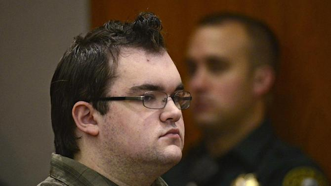 Austin Sigg, front center, as he sits in district court in Golden, Colo., on Tuesday, Nov. 19, 2013, during his sentencing hearing. Sigg, 18, who killed and dismembered 10-year-old Jessica Ridgeway in October 2012 was ordered Tuesday to spend the rest of his life in prison. He would have been eligible for parole on the murder charge in 40 years because he was a juvenile at the time, but the judge added on sentences for other crimes that Sigg pleaded guilty to, eliminating that possibility. (AP Photo/Denver Post, RJ Sangosti, Pool)