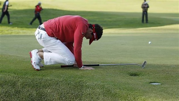2012 GOLF Keegan Bradley of the U.S. reacts after missing a birdie putt on the second playoff hole during the final round of the Northern Trust Open