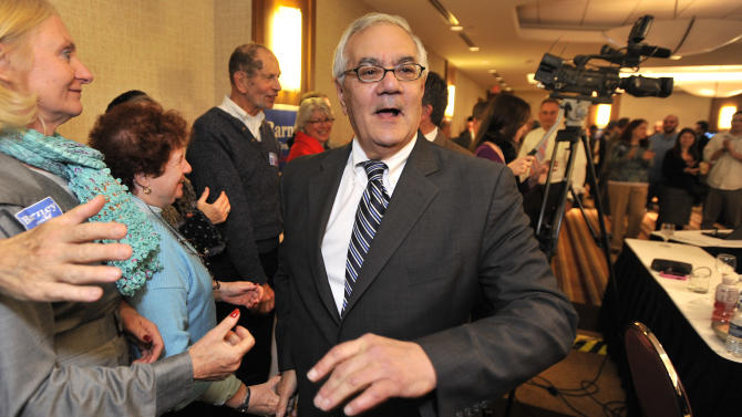 U.S. Rep. Barney Frank, D-Mass., greets supporters celebrating his re-election in the 4th Congressional District at a party in Newton, Mass Tuesday,Nov. 2, 2010. Frank faced Republican Sean Bielat in Tuesday's general election. (AP Photo/Josh Reynolds)