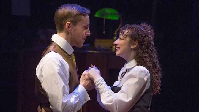 """This photo provided by Matt Ross Public Relations shows Adam Halpin and Megan McGinnis in the off-Broadway show """"Daddy Long Legs."""" On Dec. 10, 2015, producers of the off-Broadway show """"Daddy Long Legs"""" will allow audiences to see the full production online for free broadcast from the Davenport Theater in New York. (Jeremy Daniel/Matt Ross Public Relations via AP)"""