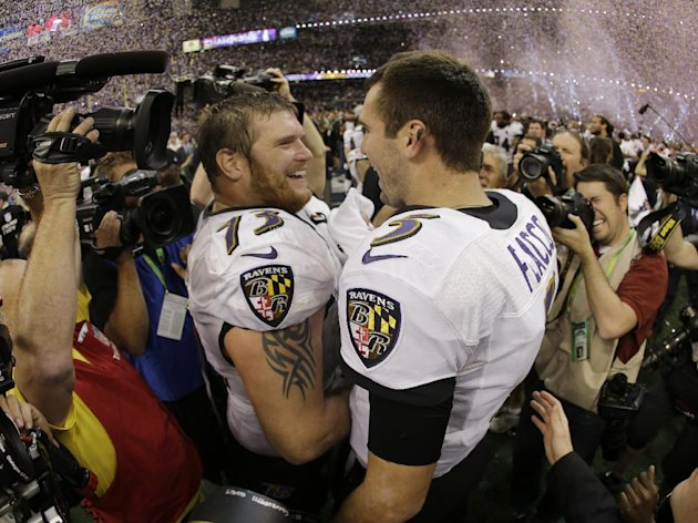 Baltimore Ravens quarterback Joe Flacco (5) and offensive lineman Marshal Yanda (73) celebrate their team&#39;s 34-31 win against the San Francisco 49ers in the NFL Super Bowl XLVII football game, Sunday, Feb. 3, 2013, in New Orleans. (AP Photo/Matt Slocum)