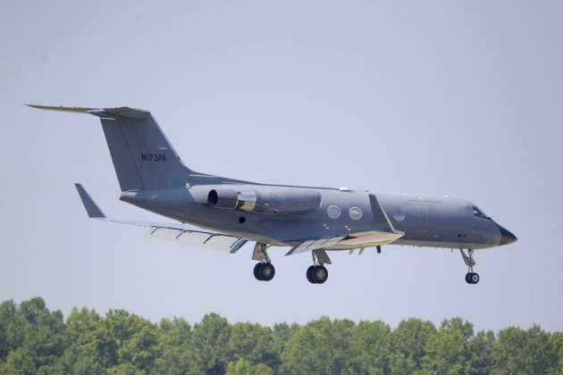 Phoenix Air lands near Atlanta on Aug. 5 with Nancy Writebol aboard in an isolation chamber. (AP/Todd Kirkland)