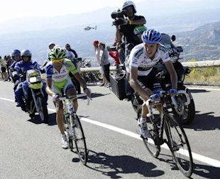 Team Garmin Cervelo's Martin and Liquigas Cannondale's Nibali cycle during the ninth stage of the Tour of Spain