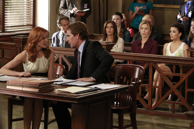 "In this publicity image released by ABC, Marcia Cross, left, and Scott Bakula are shown with, from right, Eva Longoria, Felicity Huffman and Teri Hatcher in a scene from the series finale of ""Desperate Housewives,"" airing Sunday, May 13, 2012 at 9:00p.m. EST on ABC. (AP Photo/ABC, Ron Tom)"
