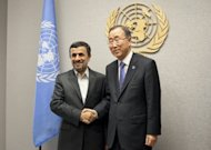 President of Iran Mahmoud Ahmadinejad (L) is greeted by United Nations Secretary General Ban Ki-moon at United Nations Headquarters in New York City. Fears that the Syrian civil war and the Iranian nuclear standoff could provoke wider international conflict dominated the debate on Monday as world leaders gathered for the UN General Assembly