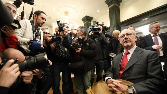 """Rodrigo Rato, former president of Spanish nationalized lender Bankia, attends a ceremony to launch former Spanish prime minister Jose Maria Aznar's book """"Memories I"""", in Madrid"""
