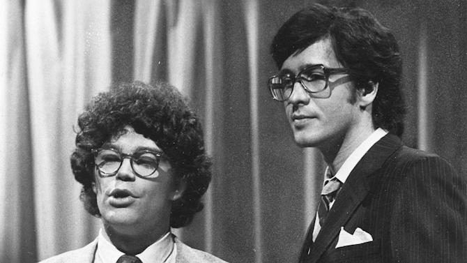 "HOLD FOR OBIT STORY - FILE - This 1978 file photo from NBC shows ""Saturday Night Live"" writer/performers Al Franken, left, and Tom Davis in New York. Davis, a writer and performer who with Franken developed some of the most popular skits in the early years of ""Saturday Night Live,"" died Thursday, July 19, 2012. He was 59. (AP Photo/NBC-TV, File)"