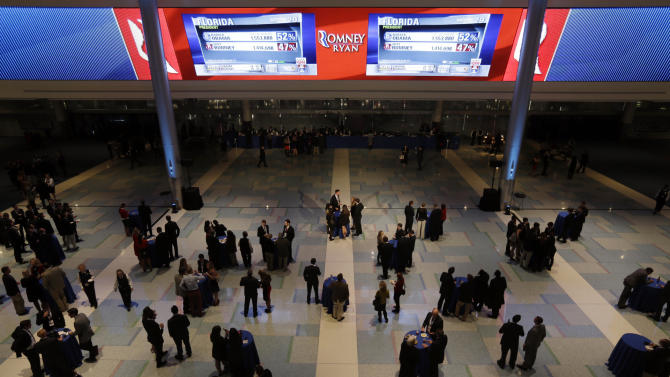 Supporters of Republican presidential candidate and former Massachusetts Gov. Mitt Romney gather under screens projecting early election returns before Romney's election night rally, Tuesday, Nov. 6, 2012, in Boston. (AP Photo/David Goldman)